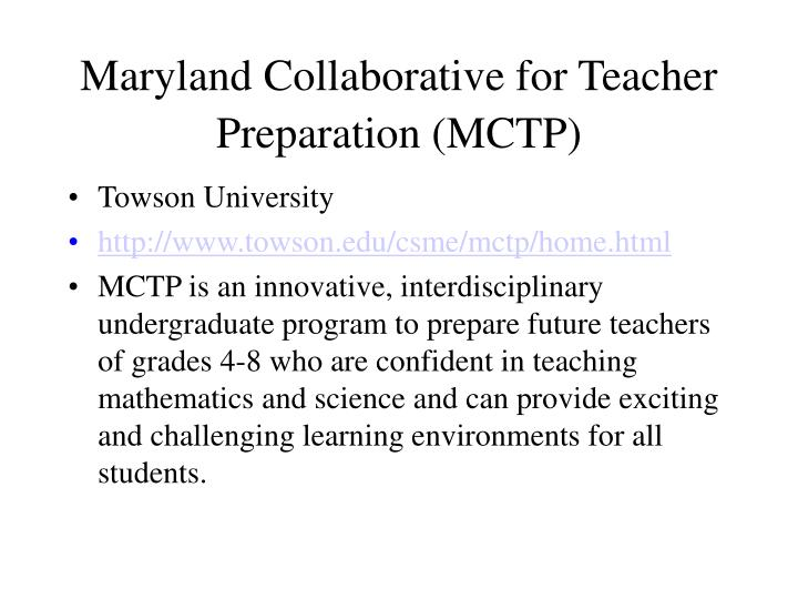 Maryland Collaborative for Teacher Preparation (MCTP)