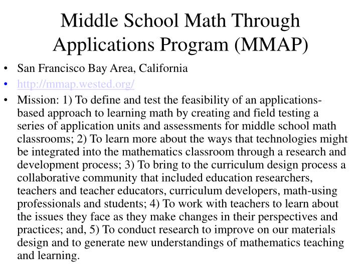 Middle School Math Through Applications Program