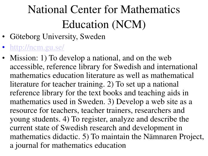 National Center for Mathematics Education (NCM)