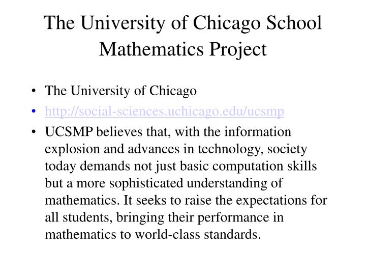 The University of Chicago School Mathematics Project