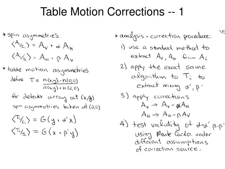 Table Motion Corrections -- 1