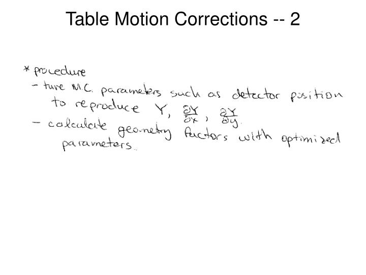 Table Motion Corrections -- 2