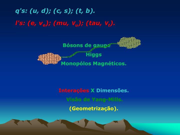 q's: (u, d); (c, s); (t, b).