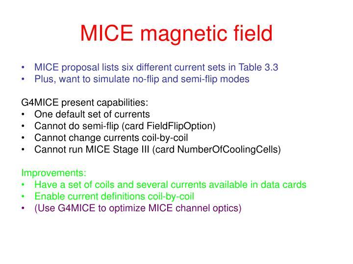 MICE magnetic field