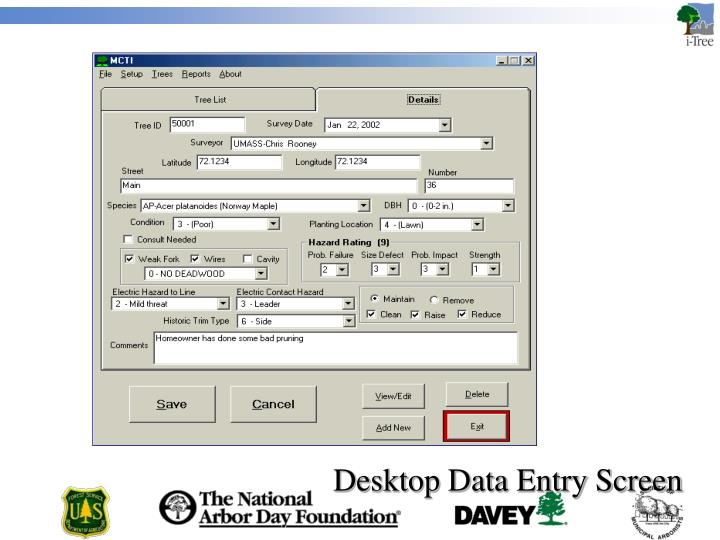Desktop Data Entry Screen