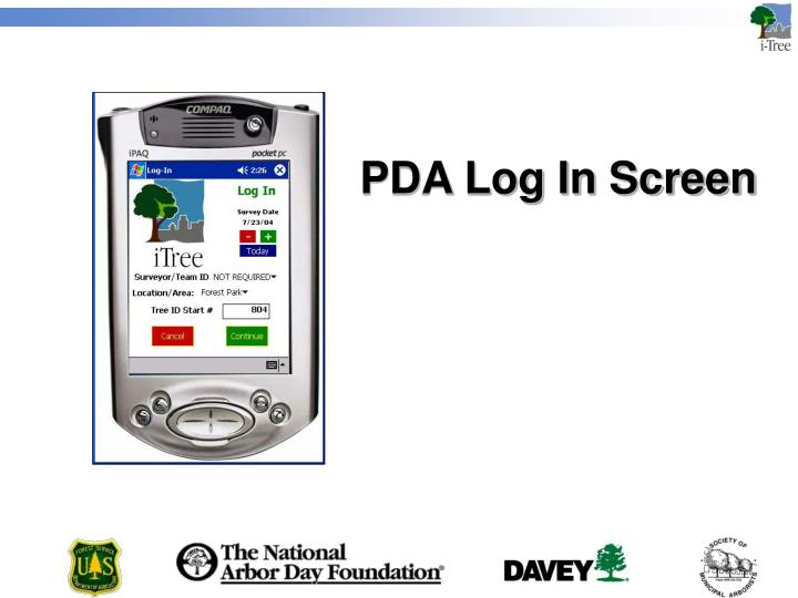 PDA Log In Screen