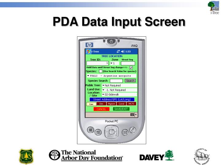 PDA Data Input Screen