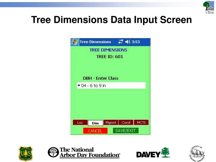 Tree Dimensions Data Input Screen