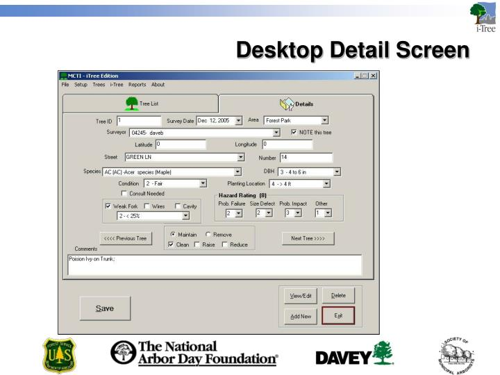 Desktop Detail Screen