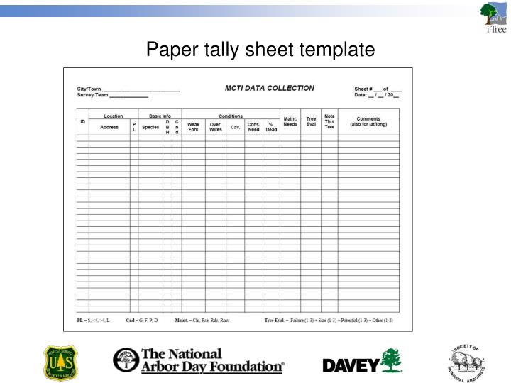 Paper tally sheet template