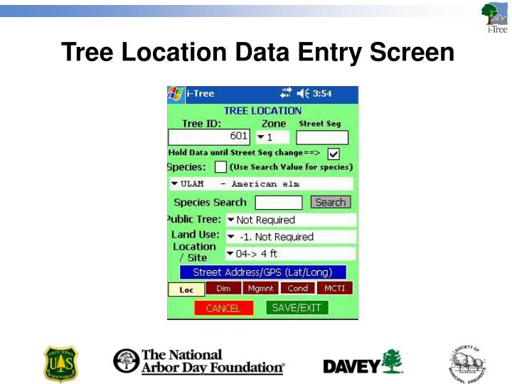 Tree Location Data Entry Screen