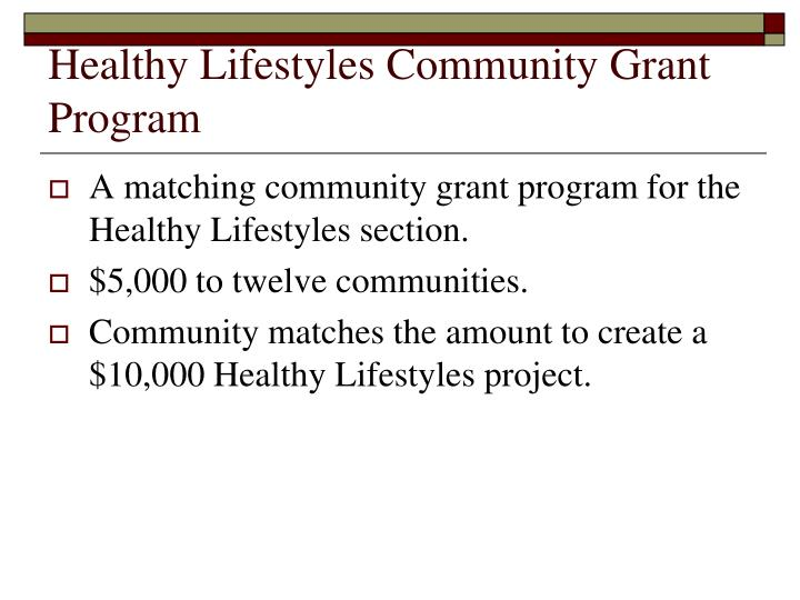 Healthy Lifestyles Community Grant Program