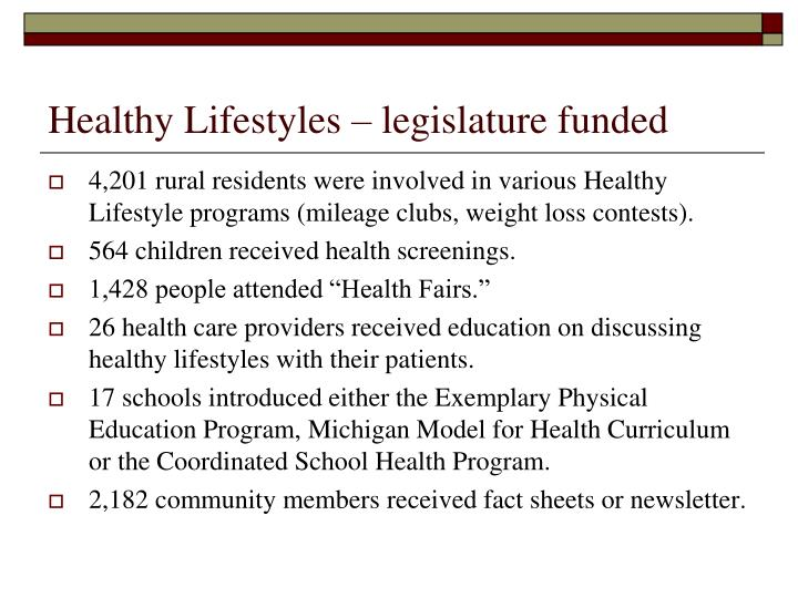 Healthy Lifestyles – legislature funded
