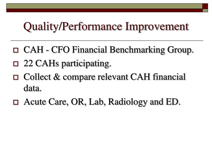 Quality/Performance Improvement