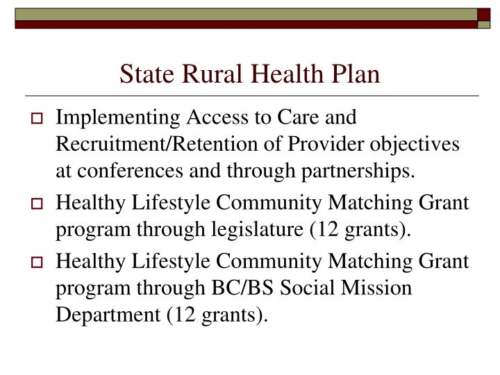 State Rural Health Plan