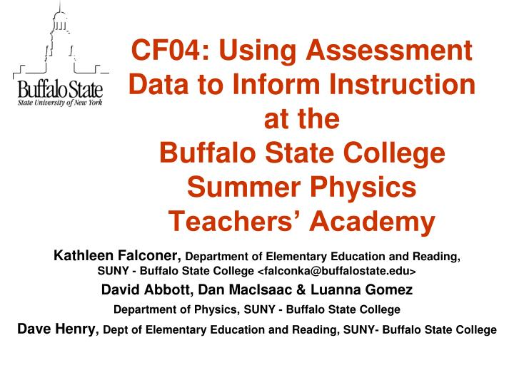 CF04: Using Assessment Data to Inform Instruction at the