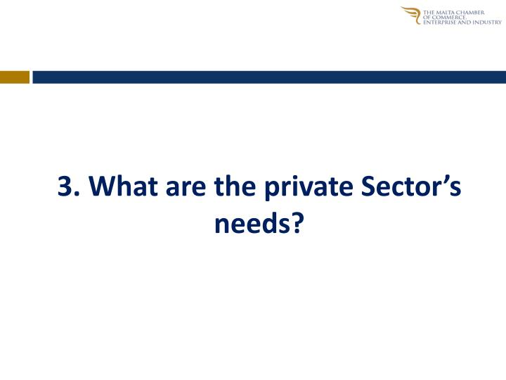 3. What are the private Sector's needs?