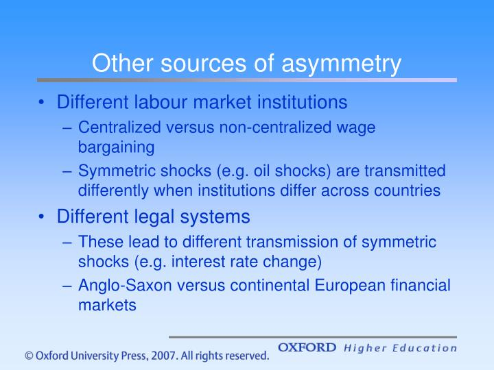Other sources of asymmetry