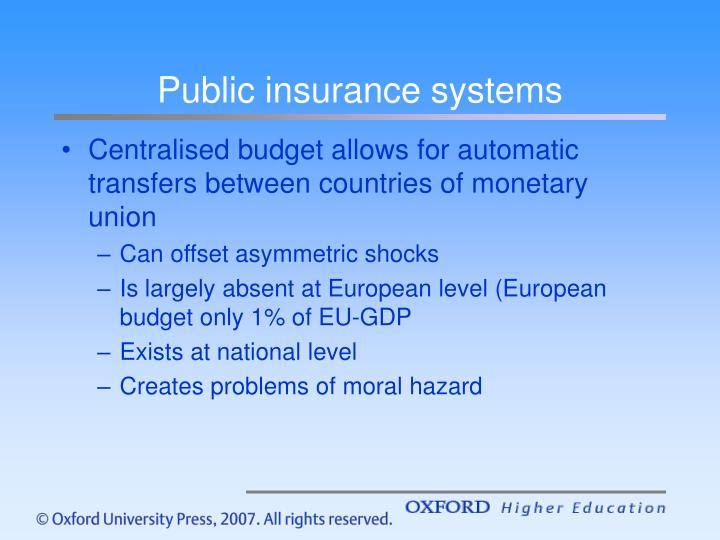 Public insurance systems