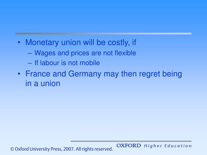 Monetary union will be costly, if