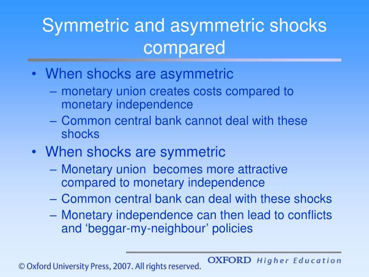 Symmetric and asymmetric shocks compared