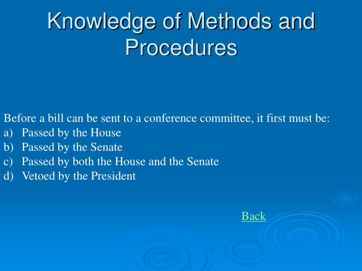 Knowledge of Methods and Procedures
