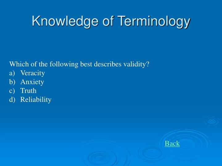 Knowledge of Terminology