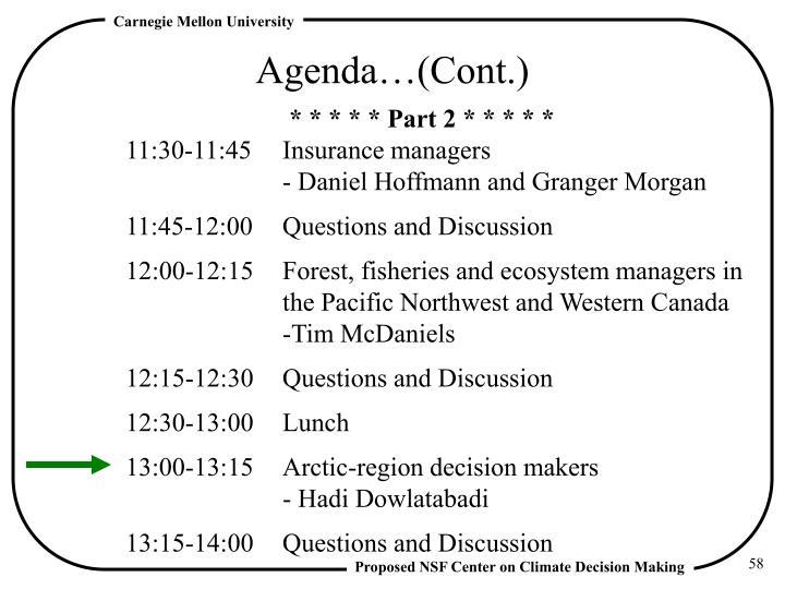 Agenda…(Cont.)