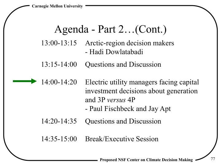Agenda - Part 2…(Cont.)