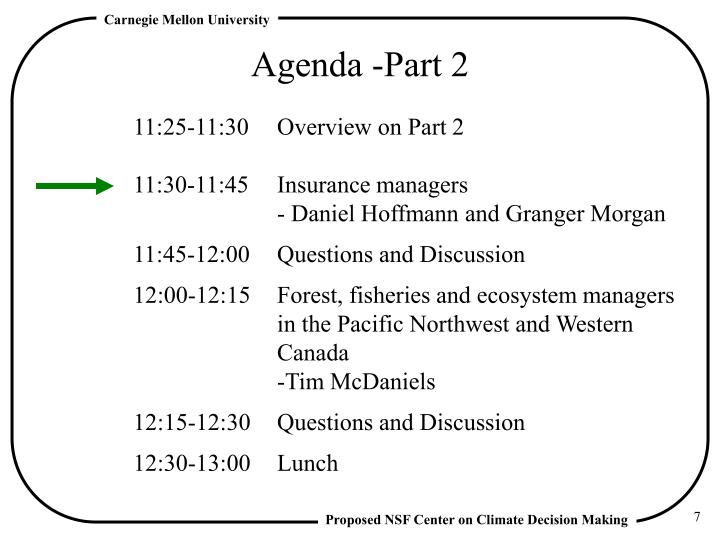Agenda -Part 2
