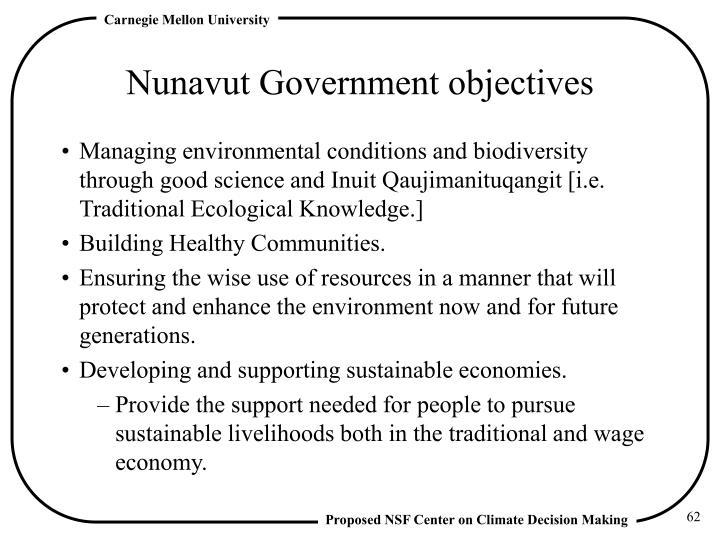 Nunavut Government objectives