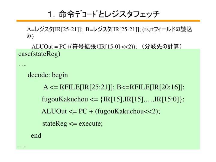 1.命令デコードとレジスタフェッチ