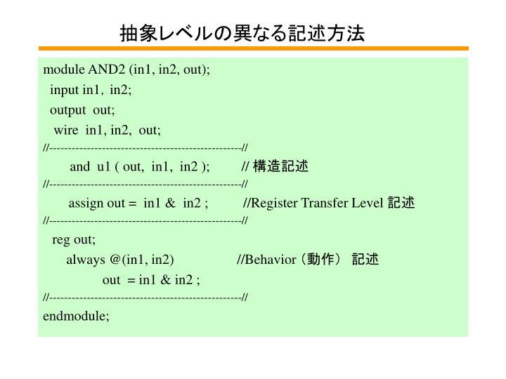 抽象レベルの異なる記述方法