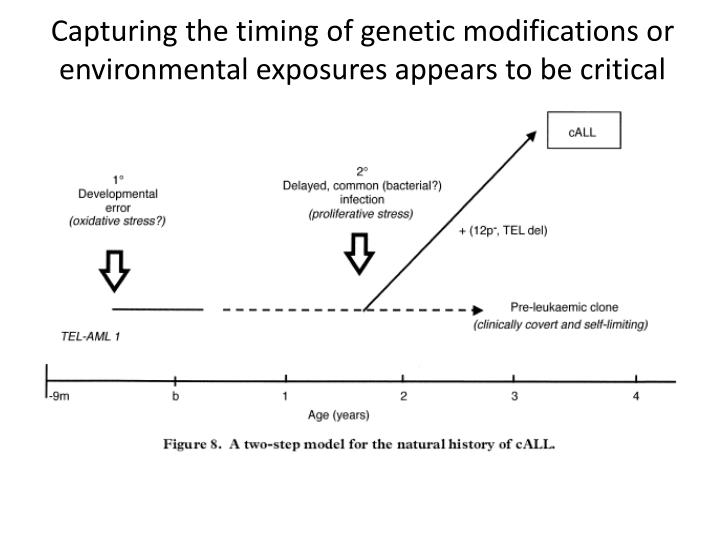 Capturing the timing of genetic modifications or environmental exposures appears to be critical