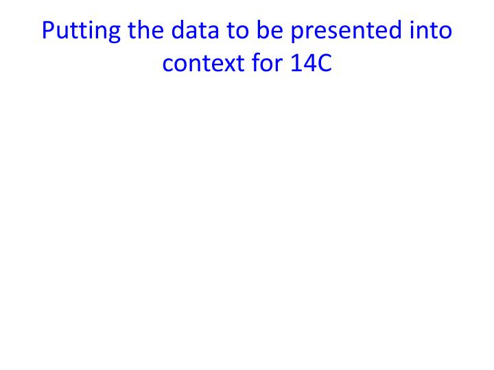 Putting the data to be presented into context for 14C