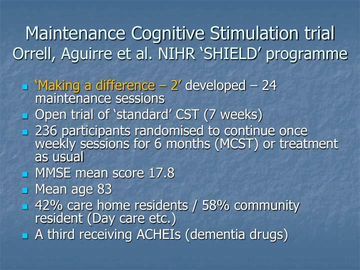 Maintenance Cognitive Stimulation trial