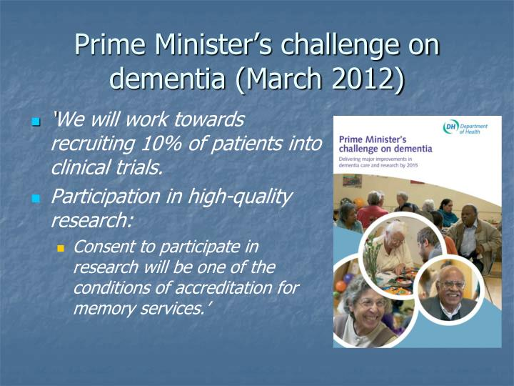 Prime Minister's challenge on dementia (March 2012)