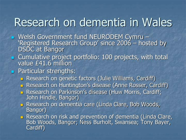 Research on dementia in Wales