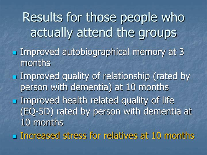 Results for those people who actually attend the groups