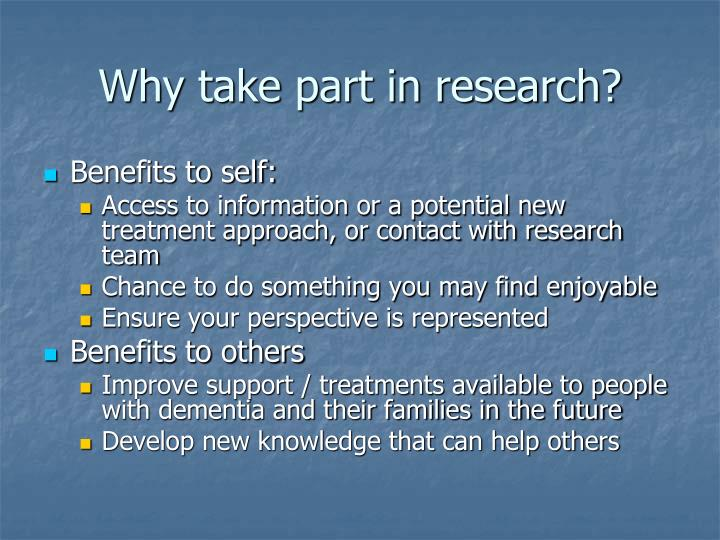 Why take part in research?