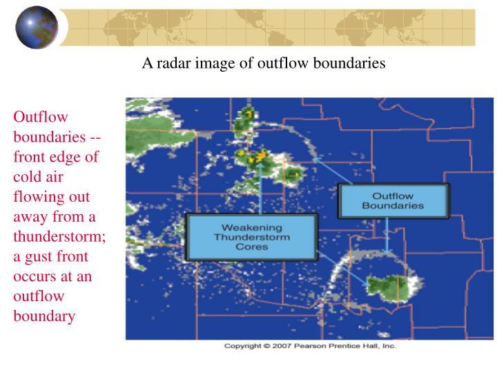 A radar image of outflow boundaries