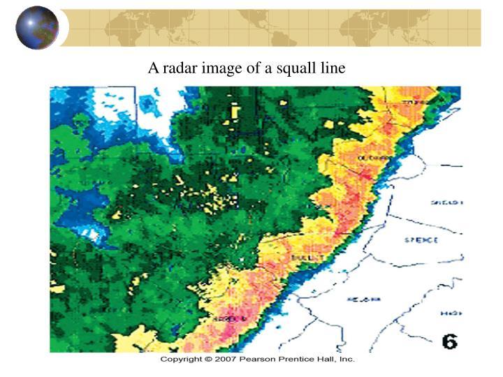 A radar image of a squall line