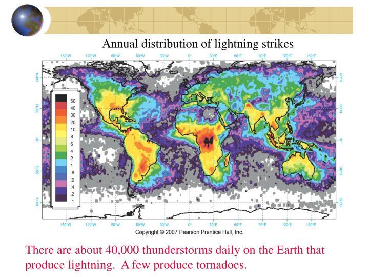 Annual distribution of lightning strikes
