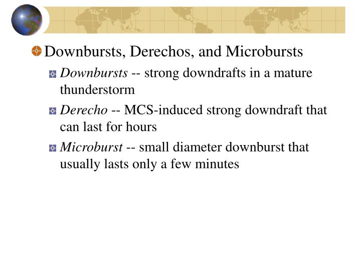 Downbursts, Derechos, and Microbursts