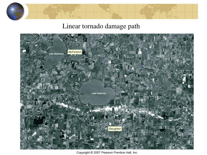 Linear tornado damage path