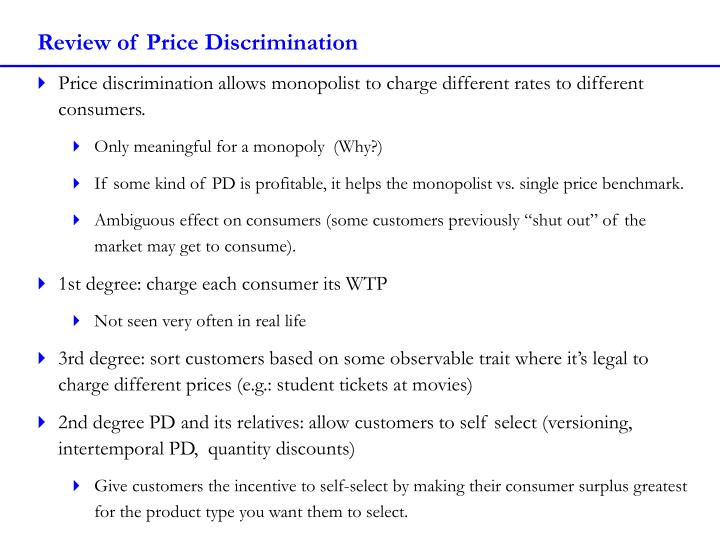 Review of Price Discrimination