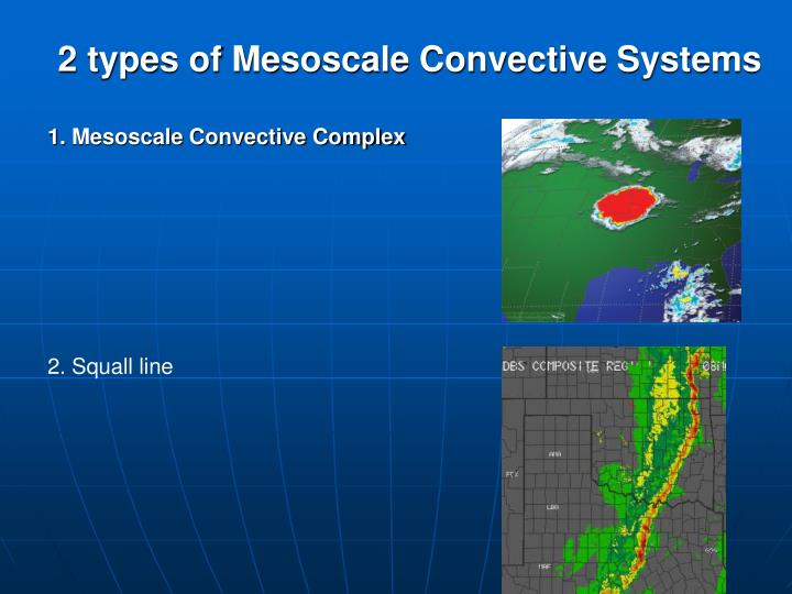 2 types of Mesoscale Convective Systems