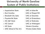 university of north carolina system of public institutions
