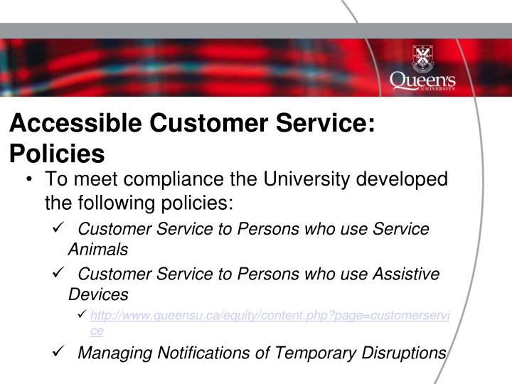 Accessible Customer Service: Policies