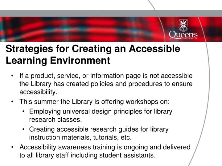 Strategies for Creating an Accessible Learning Environment